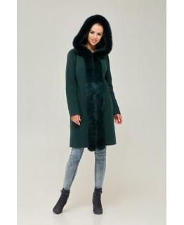 Пальто с капюшоном изумрудного цвета арт. 2267