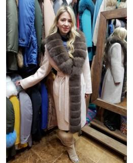 Пальто с мехом песца арт. 2640