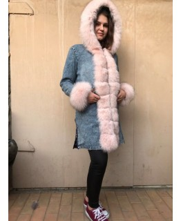 Куртка деним с мехом песца арт. 2080