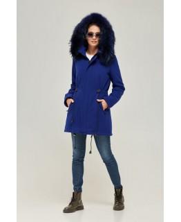 Пальто-парка с мехом енота цвета синий электрик арт. 2364