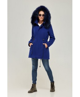 Пальто-парка з хутра єнота кольору синій електрик арт. 2364