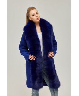 Яркое меховое пальто арт. 2251