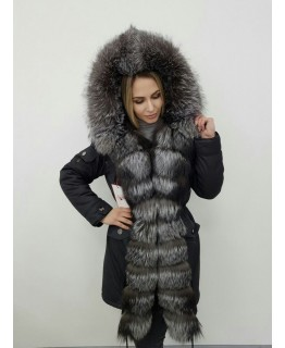 Зимняя меховая парка, мех - чернобурка арт. 2458