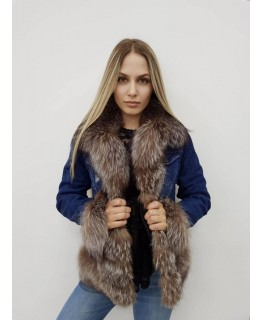 Куртка деним с мехом чернобурки арт. 2083