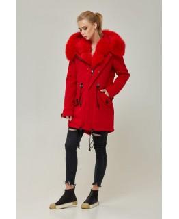 Парка-пальто червоного кольору арт. 2354
